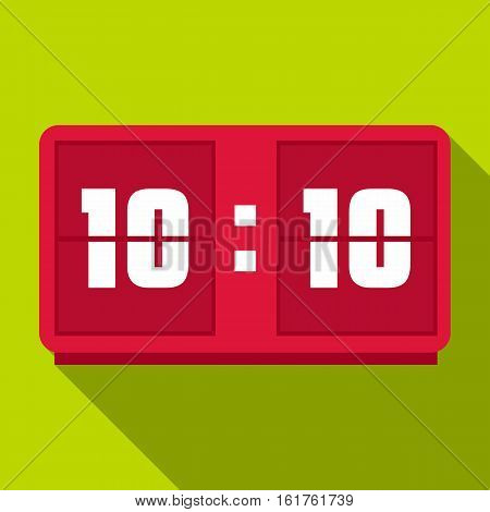 Red digital clock icon. Flat illustration of red digital clock vector icon for web