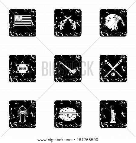 Attractions of USA icons set. Grunge illustration of 9 attractions of USA vector icons for web