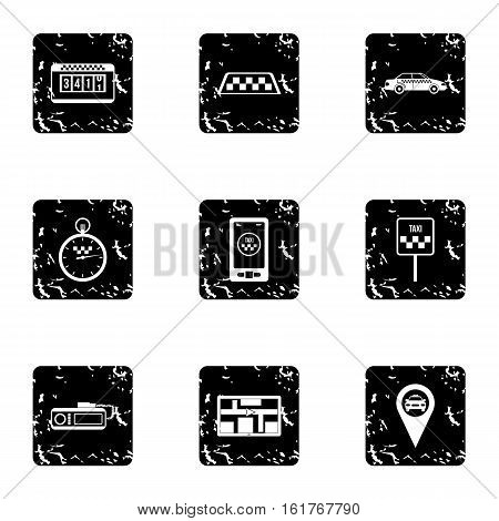 Taxi order icons set. Grunge illustration of 9 taxi order vector icons for web