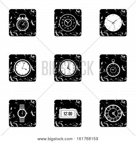Clock icons set. Grunge illustration of 9 clock vector icons for web