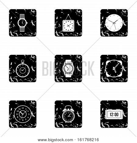 Electronic watch icons set. Grunge illustration of 9 electronic watch vector icons for web