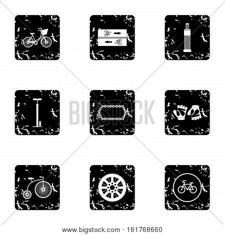 Bike icons set. Grunge illustration of 9 bike vector icons for web
