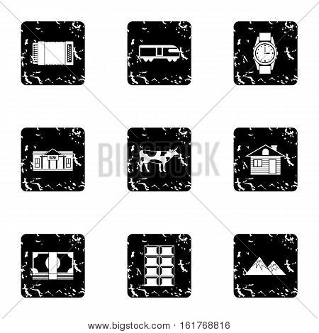 Attractions of Switzerland icons set. Grunge illustration of 9 attractions of Switzerland vector icons for web