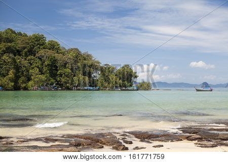Beautiful beach with tropical trees with a wave of the sea and blue sky with white clouds. Thailand. Phuket