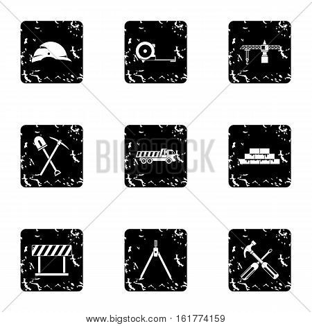 Repair icons set. Grunge illustration of 9 repair vector icons for web