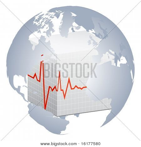 (raster image of vector) heart pulse of world