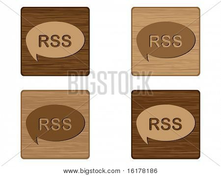 (raster image of vector) Four RSS wooden buttons