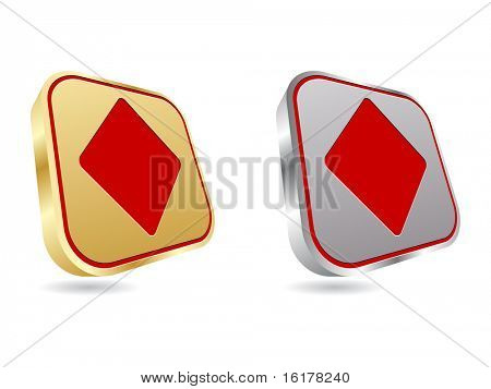 (raster image of vector) golden and silver poker element