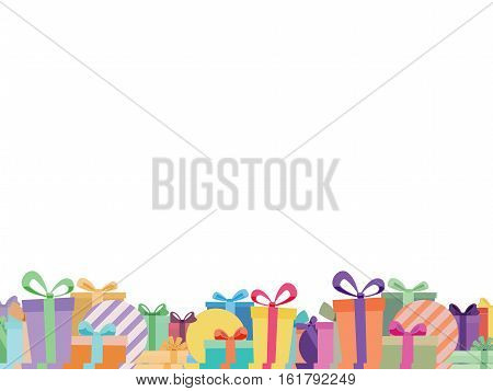 White Background With Colorful Ribbon Gift Box Footer