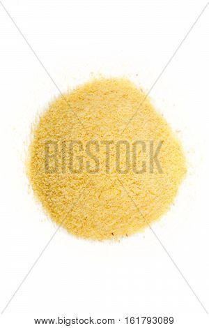 Pile of Semolina flour isolated on white background
