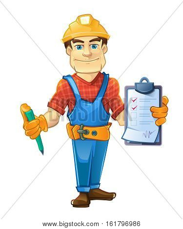 builder in helmet standing and holding order paper and pen in his hands. vector illustration