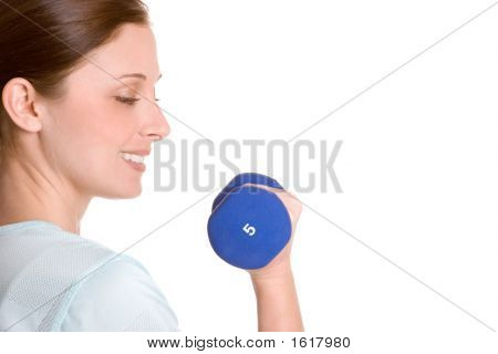 Smiling Weightlifting Woman