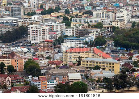 Antananarivo french name Tananarive short name Tana Very poor capital and largest city in Madagascar Madagasikara republic. View from top to Central Antananarivo cityscape.