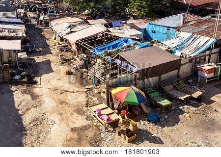 Poor Houses By The River In Shantytown