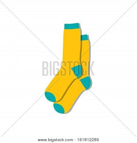 Vector illustration flat design colorful socks isolated on white background. Textile warm clothes socks pair cute decoration wool winter clothing. Sport season collection.