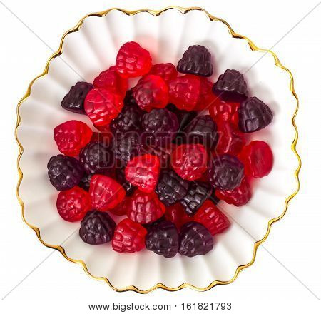 Chewing marmalade jelly candies with berry flavor. Studio Photo