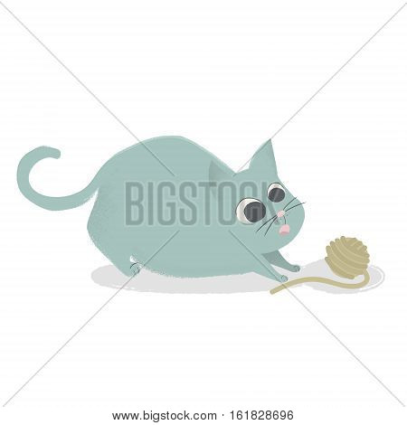 Cute cat playing with ball of yarn. Comic cartoon kitten isolated. Ready illustration for kids book apparel design. Vector Illustration