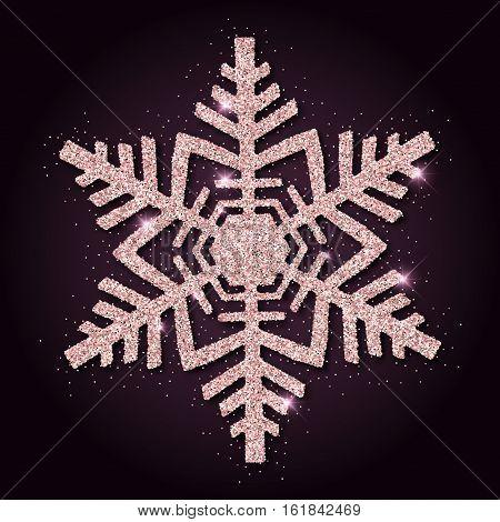 Pink Golden Glitter Magnificent Snowflake. Luxurious Christmas Design Element, Vector Illustration.