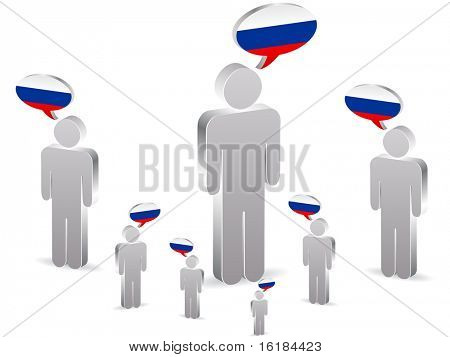 (raster image of vector) group of russian people