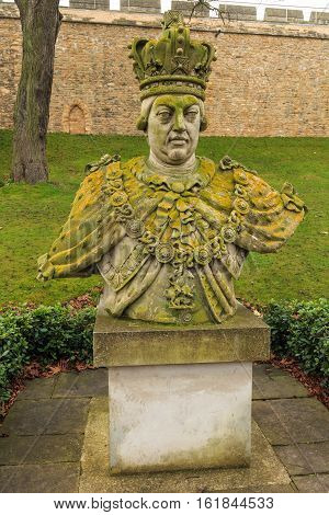 LINCOLN ENGLAND - DECEMBER 15: Stone bust of King George III within grounds of Lincoln Castle. In Lincoln England. On 15th December 2016.