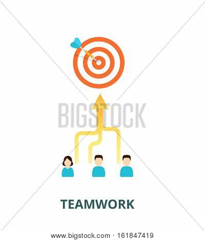 Team is committed to a single goal - vector illustration. Combining the skills of people in teamwork. Achievement of results concept.