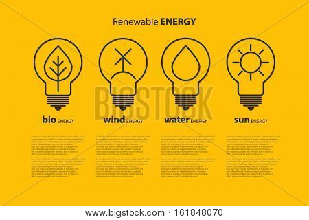 Yellow outline bulb with sun as logo with copyspace on blue background. Idea of eco-friendly source of energy