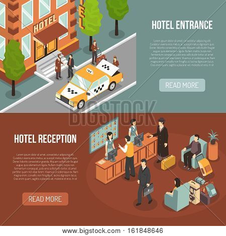Hotel information 2 horizontal isometric banners webpage design with entrance street view and reception desk isolated vector illustration
