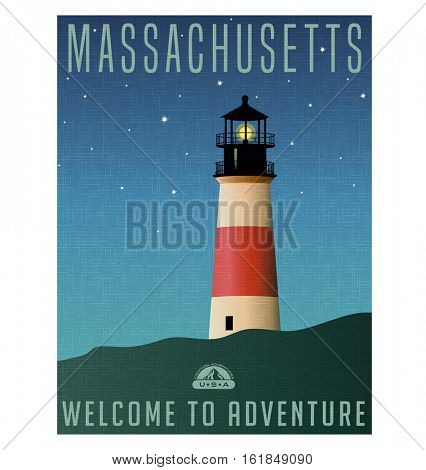 Massachusetts, United States travel poster or luggage sticker. Scenic illustration of a lighthouse on Nantucket Island at night with starry sky.