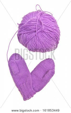 Yarn and mitten in form of heart love symbol. Isolated object. Element of design.