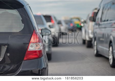 Traffic Jam With Row Of Car