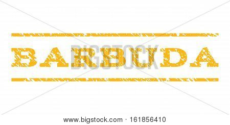 Barbuda watermark stamp. Text caption between horizontal parallel lines with grunge design style. Rubber seal stamp with unclean texture. Vector yellow color ink imprint on a white background.