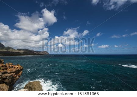 Ocean view in Poipu,Kauai,Hawaii with blue sky and white clouds
