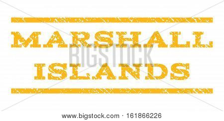 Marshall Islands watermark stamp. Text tag between horizontal parallel lines with grunge design style. Rubber seal stamp with dust texture. Vector yellow color ink imprint on a white background.