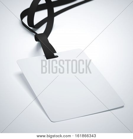 White badge with neckband and dark tape in bright studio. 3d rendering