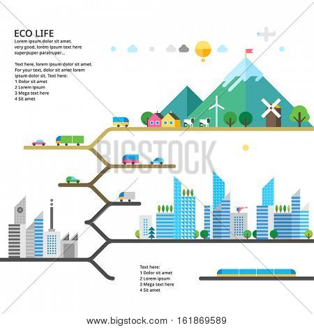 Abstract illustrations - Ecologically clean nature, the modern city and detached production. Transport. Renewable energy. Ecosystem infographics