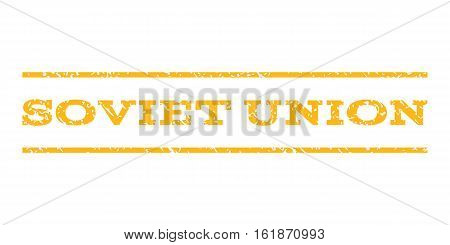 Soviet Union watermark stamp. Text caption between horizontal parallel lines with grunge design style. Rubber seal stamp with dirty texture. Vector yellow color ink imprint on a white background.