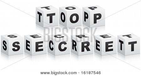 (raster image of vector) top secret word