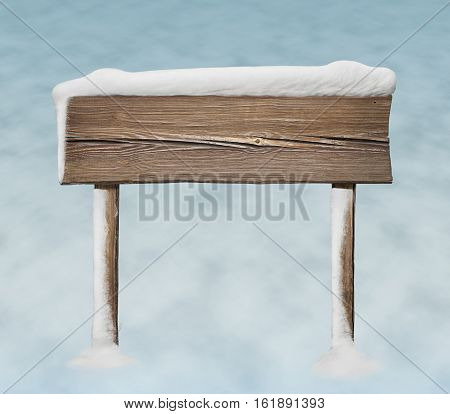Wide Wooden Sign With Less Snow On It And Snow Bg