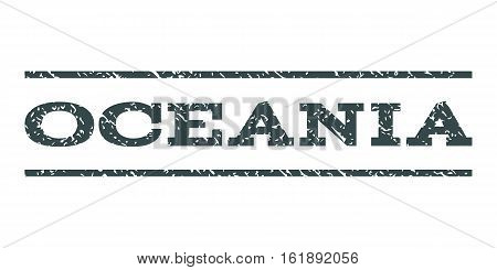 Oceania watermark stamp. Text caption between horizontal parallel lines with grunge design style. Rubber seal stamp with dirty texture. Vector soft blue color ink imprint on a white background.