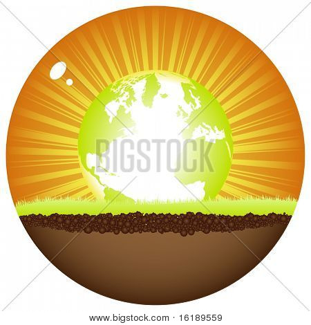 (raster image of vector) sunshine ball with earth