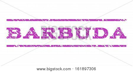 Barbuda watermark stamp. Text tag between horizontal parallel lines with grunge design style. Rubber seal stamp with dust texture. Vector violet color ink imprint on a white background.