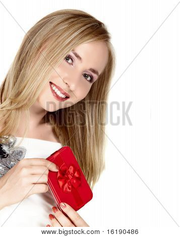 Smiling Young Woman With Red Box.