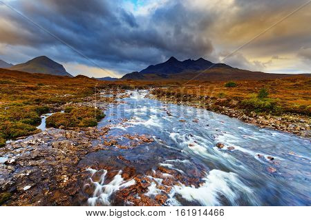 Sligachan Glen Marsco mountain Skye Inner Hebrides in Highlands Scotland. It is close to the Cuillin mountains and provides a good viewpoint for seeing the Black Cuillin mountains