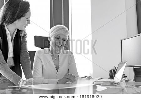 Smiling businesswoman and female manager reviewing project in office