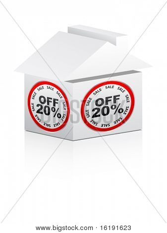 (raster image of vector) twenty percent discount for house