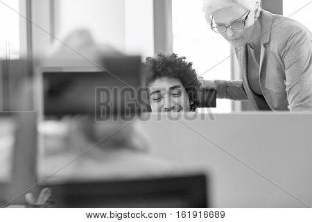 Mature businesswoman with male colleague working in office