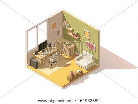 Vector isometric low poly room cutaway icon. Room includes furniture - working table with computer, office chair, armchair, bookshelf and domestic plants