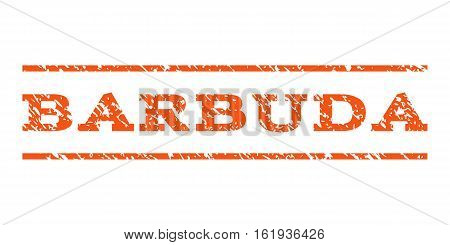 Barbuda watermark stamp. Text tag between horizontal parallel lines with grunge design style. Rubber seal stamp with scratched texture. Vector orange color ink imprint on a white background.