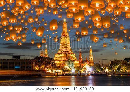 Floating lamp in yee peng festival under loy krathong day at wat arun Bangkok Thailand