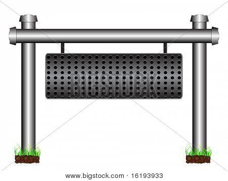 (raster image of vector) metal banner